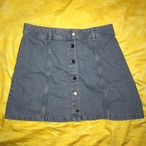 H&M Divided A-Line Denim Button Up Skirt